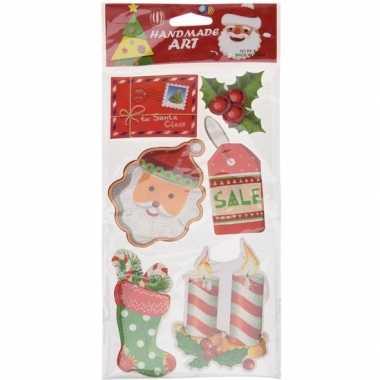 Kerst decoratie stickers 3d type 2 20 x 45 cm