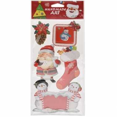 Kerst decoratie stickers 3d type 4 20 x 45 cm