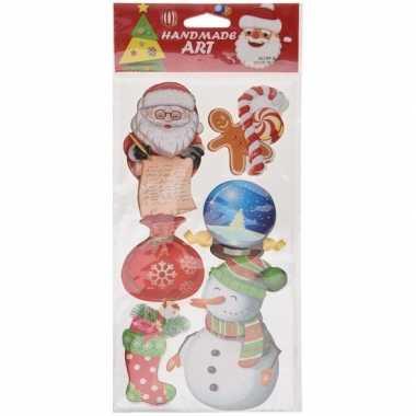 Kerst decoratie stickers 3d type 5 20 x 45 cm