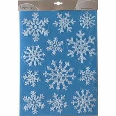Kerst decoratie stickers glitter sneeuwvlokken 30 x 40 cm