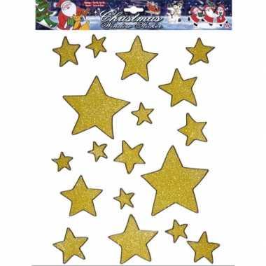 Kerst decoratie stickers gouden sterren plaatjes 18 stuks