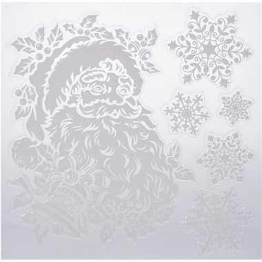 Kerst decoratie stickers kerstman/sneeuwvlokken 31 x 39 cm