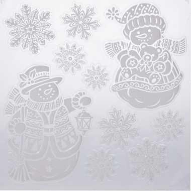 Kerst decoratie stickers sneeuwpoppen/sneeuwvlokken 31 x 39 cm