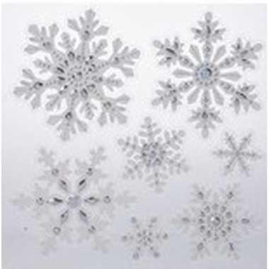 Kerst decoratie stickers sneeuwvlokken 31 x 39 cm