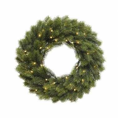 Kerst deurkrans met kerstverlichting 40 cm