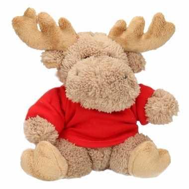 Kerst eland dierenknuffel 15 cm met kleding