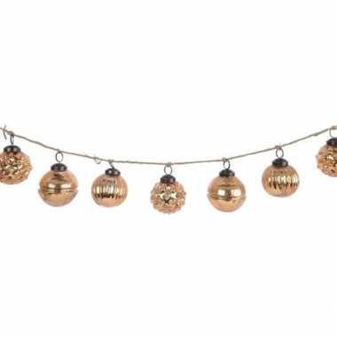 Kerst hangdecoratie brass gouden kerstballetjes slinger 120 cm