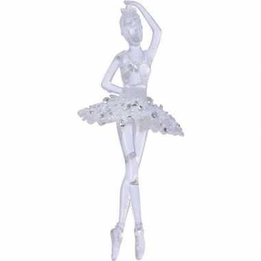 Kerst hangdecoratie doorzichtige balletdanseres 17 cm