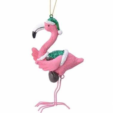 Kerst hangdecoratie flamingo in groen/witte outfit 13 cm