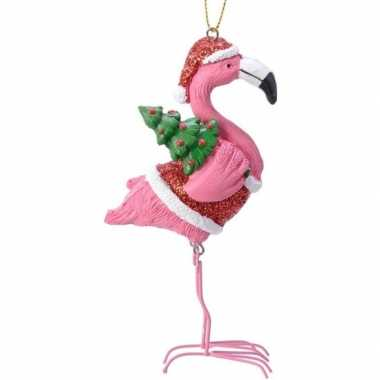 Kerst hangdecoratie flamingo in rood/witte outfit 13 cm