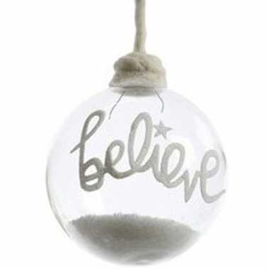 Kerst hangdecoratie glazen kerstbal 10 cm met sneeuw en tekst believe