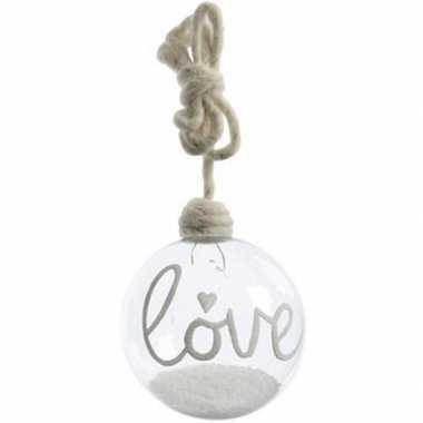 Kerst hangdecoratie glazen kerstbal 10 cm met sneeuw en tekst love la