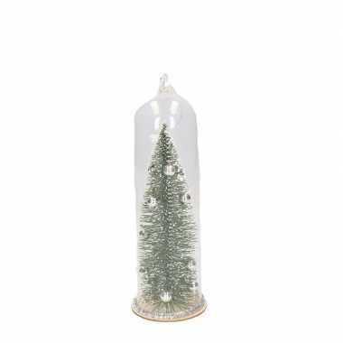 Kerst hangdecoratie glazen stolp met groen/zilveren kerstboom 22 cm