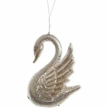 Kerst hangdecoratie goud glitter zwaantje 10 cm