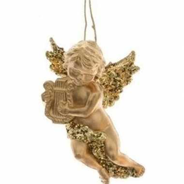 Kerst hangdecoratie gouden engeltje met harp muziekinstrument 10 cm