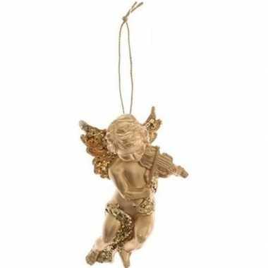 Kerst hangdecoratie gouden engeltje met viool muziekinstrument 10 cm