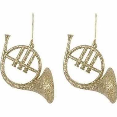 Kerst hangdecoratie gouden glitter muziekinstrumenten 7 cm hoorns