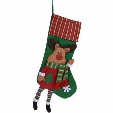 Kerst hangdecoratie groen kerstsokje 47 cm met rendiertje
