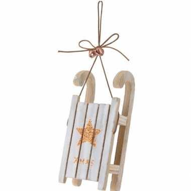 Kerst hangdecoratie houten slee 12 cm met bronzen ster