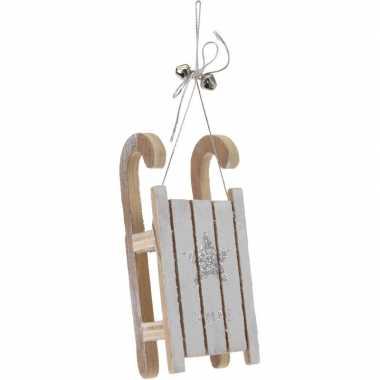 Kerst hangdecoratie houten slee 12 cm met zilveren ster