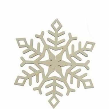 Kerst hangdecoratie houten sneeuwvlokje 10 cm