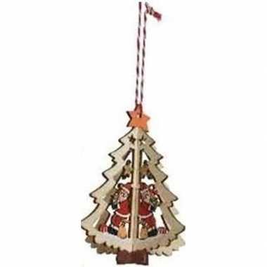 Kerst hangdecoratie kerstboom met kerstman 10 cm van hout