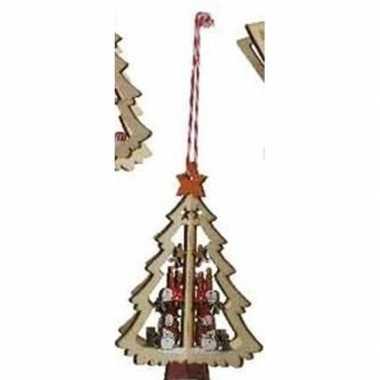 Kerst hangdecoratie kerstboom met sneeuwpop 10 cm van hout