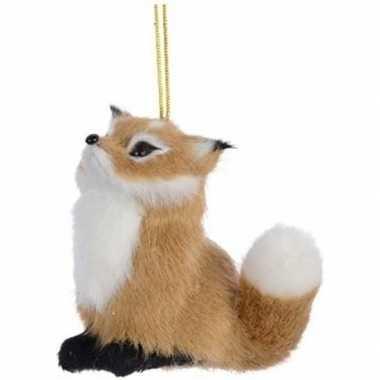Kerst hangdecoratie lichtbruin vosje 8 cm