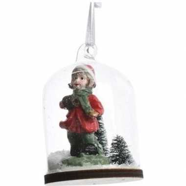 Kerst hangdecoratie meisje in sneeuwbol 8 cm