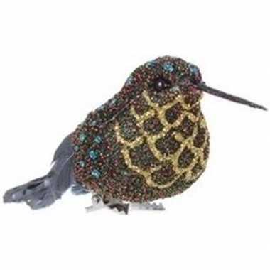 Kerst hangdecoratie op clip blauw/goud kolibrie vogeltje 4 cm