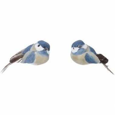 Kerst hangdecoratie op clip blauw metallic vogeltje 4 cm