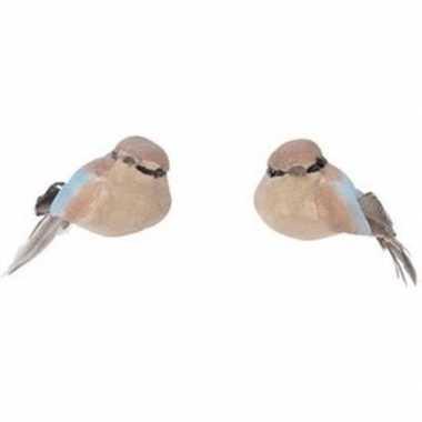 Kerst hangdecoratie op clip bruin metallic vogeltje 4 cm