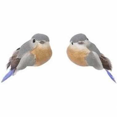 Kerst hangdecoratie op clip grijs/bruin metallic vogeltje 4 cm