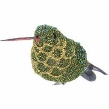 Kerst hangdecoratie op clip groen/goud kolibrie vogeltje 4 cm