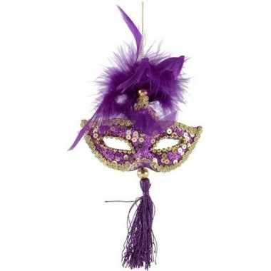 Kerst hangdecoratie paars gouden carnavalsmasker 17 cm