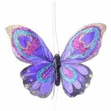 Kerst hangdecoratie paars vlindertje 9 cm