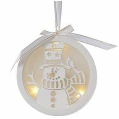 Kerst hangdecoratie platte bal met sneeuwpopje en verlichting 12 cm
