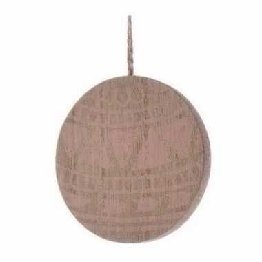 Kerst hangdecoratie platte schijf van hout met print 8 cm