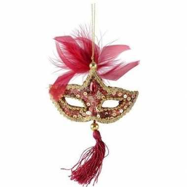 Kerst hangdecoratie rood/gouden carnavalsmasker 17 cm