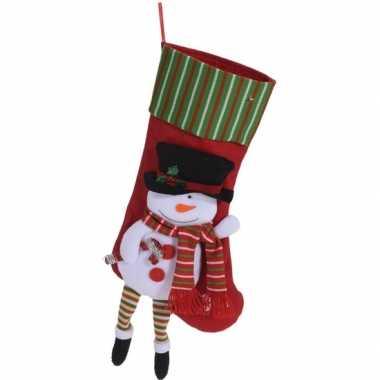 Kerst hangdecoratie rood kerstsokje 47 cm met sneeuwpopje