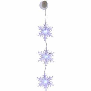 Kerst hangdecoratie sneeuwvlokken met gekleurde verlichting 45 cm