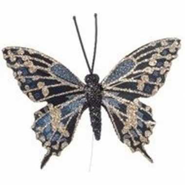 Kerst hangdecoratie steker blauw vlindertje 6 cm gouden details