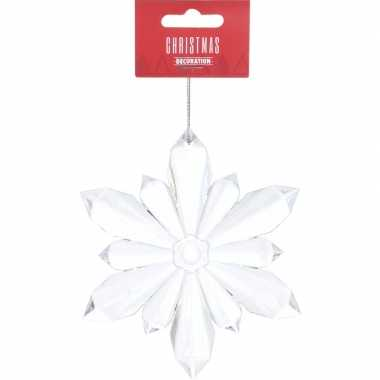 Kerst hangdecoratie transparante sneeuwvlok 11 cm