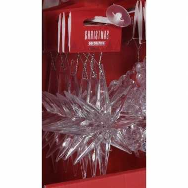Kerst hangdecoratie transparante sneeuwvlok ijsster 11 cm