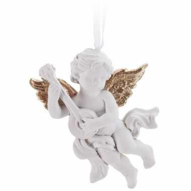 Kerst hangdecoratie wit/gouden engel 8met muziekinstrument cm