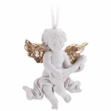 Kerst hangdecoratie wit/gouden engel met muziekinstrument 8 cm