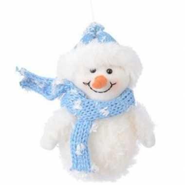 Kerst hangdecoratie wit lichtblauw sneeuwpopje 14 cm