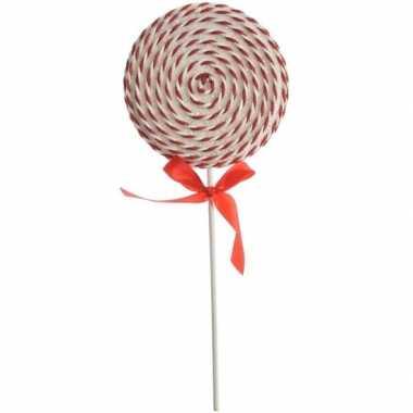 Kerst hangdecoratie wit/rode lolly snoepgoed 36 cm