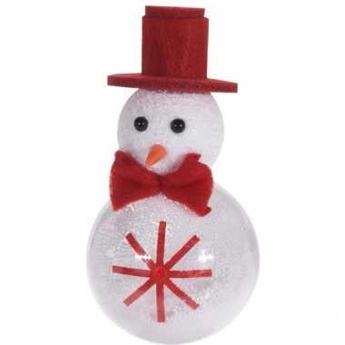 Kerst hangdecoratie wit/rode sneeuwpop 12 cm