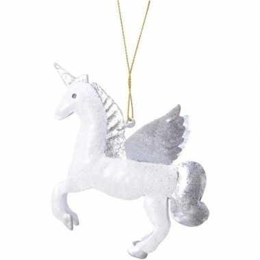Kerst hangdecoratie wit/zilver eenhoorntje 9 cm met glitters